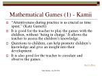mathematical games 1 kamii