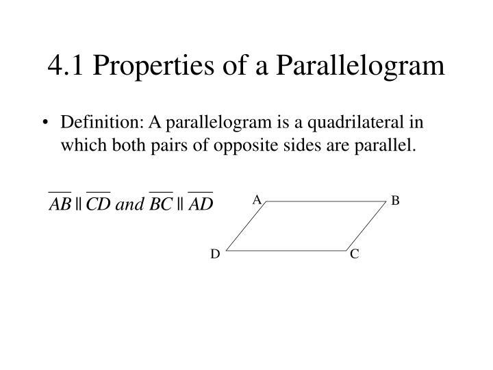 4 1 properties of a parallelogram