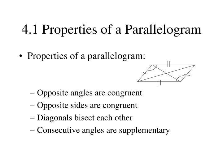 4 1 properties of a parallelogram1
