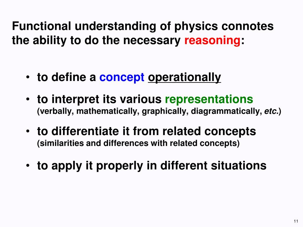Functional understanding of physics connotes the ability to do the necessary