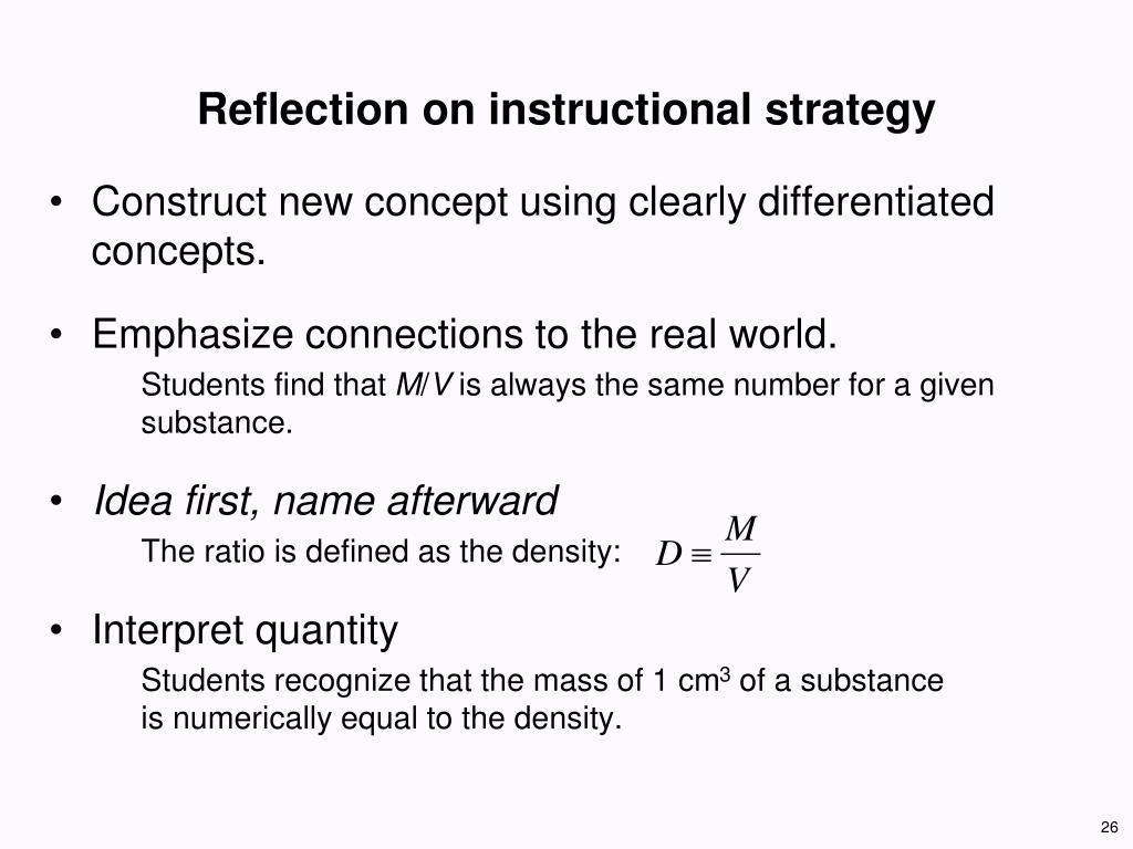 Reflection on instructional strategy