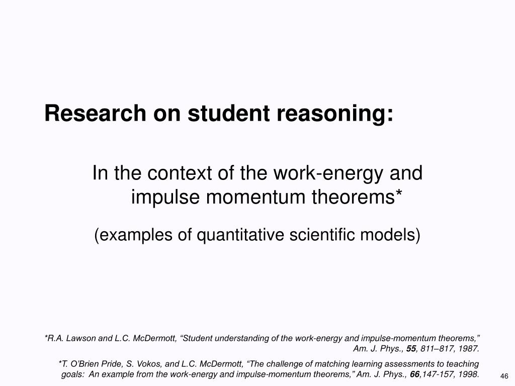 Research on student reasoning:
