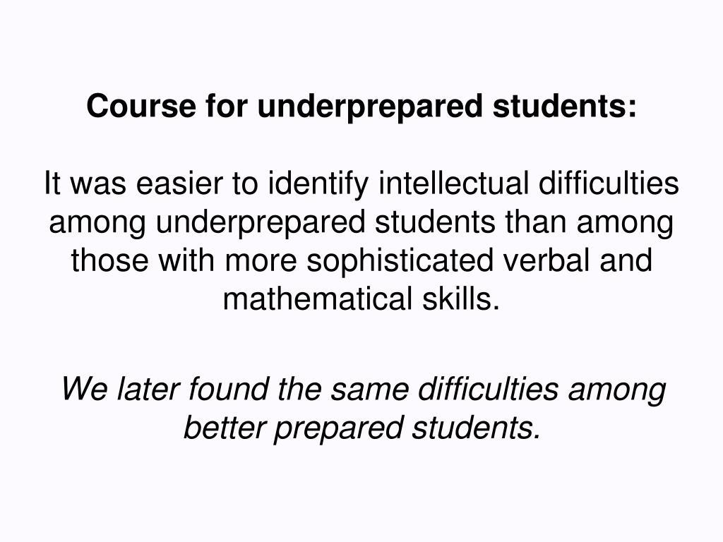 Course for underprepared