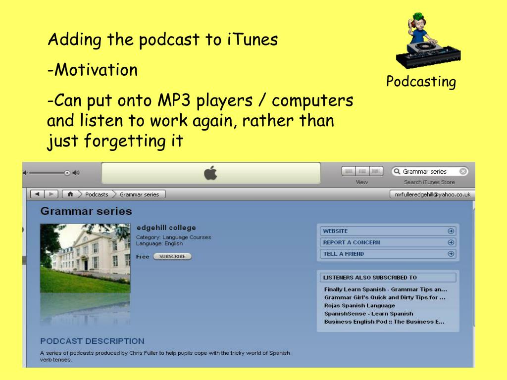 Adding the podcast to iTunes