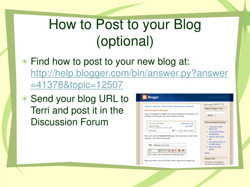 How to Post to your Blog (optional)