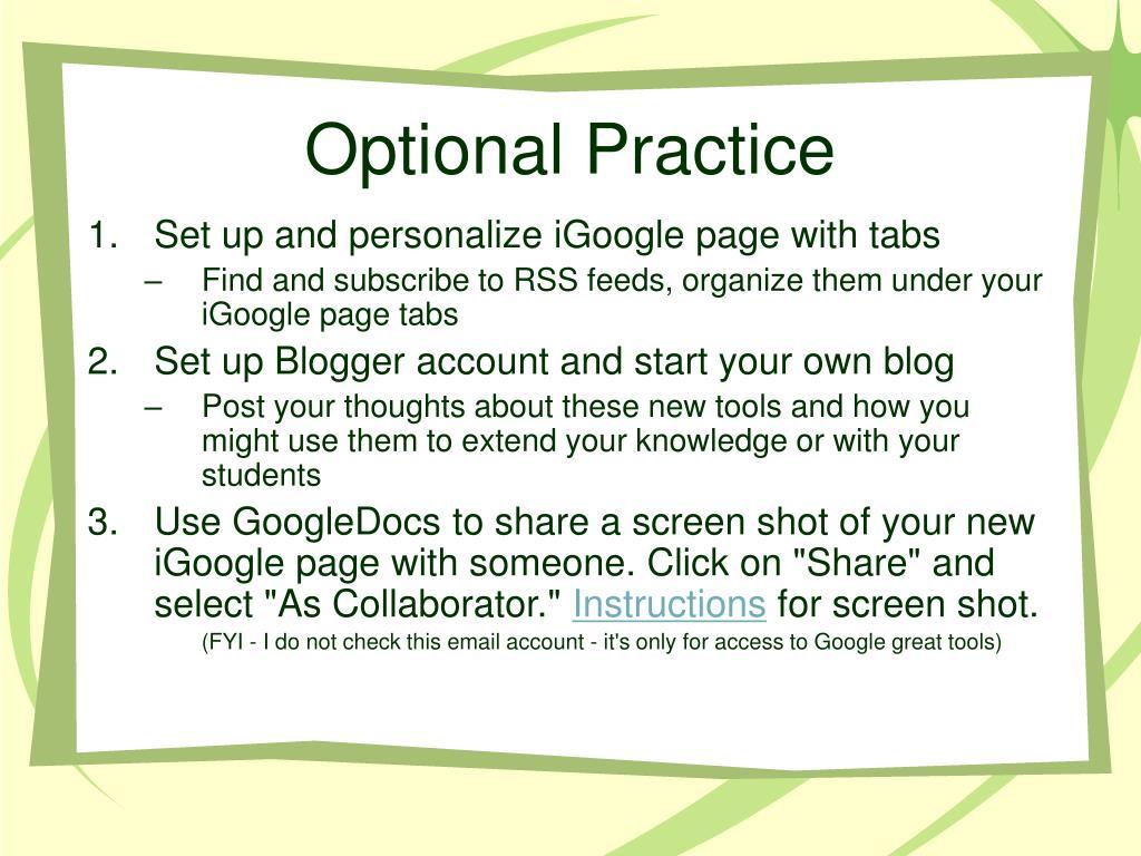 Optional Practice