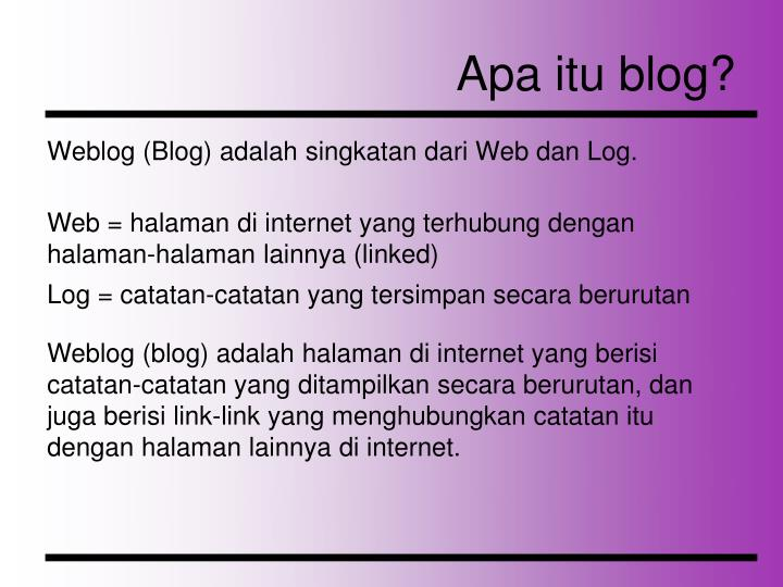 Apa itu blog