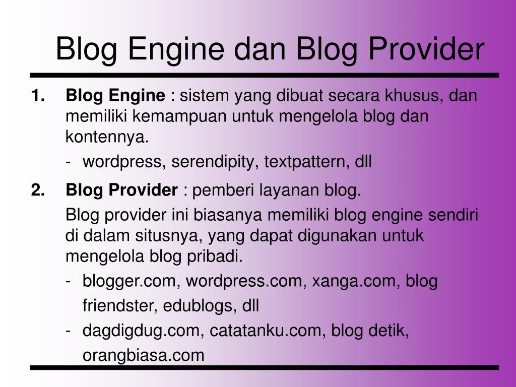 Blog Engine dan Blog Provider