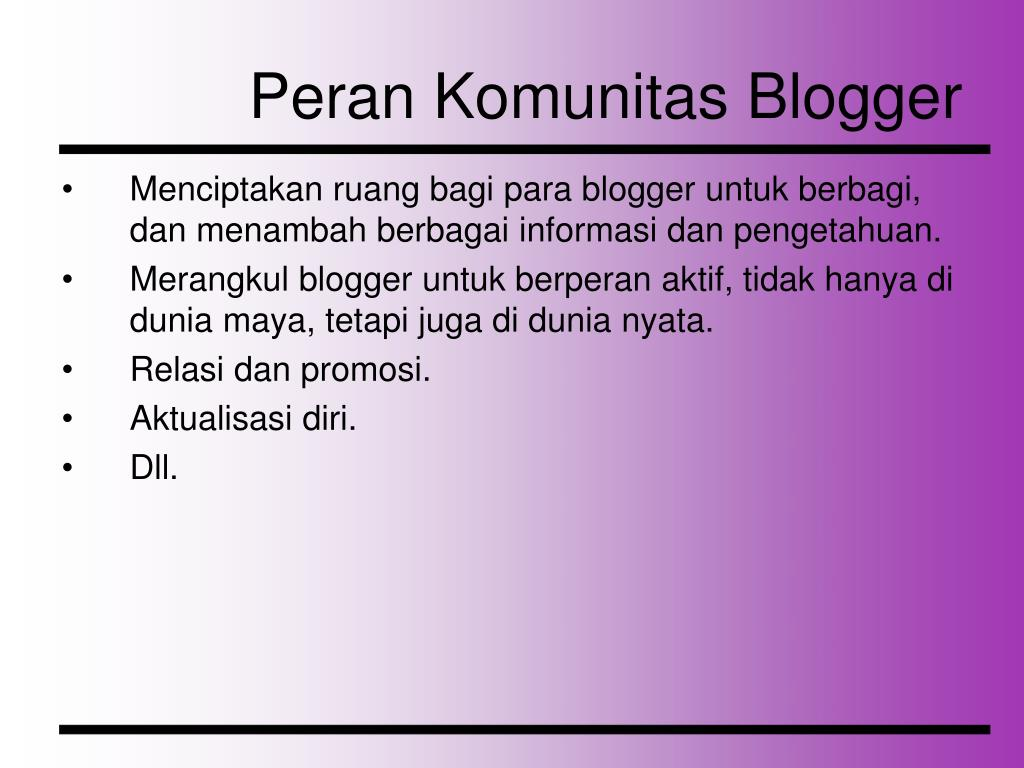 Peran Komunitas Blogger
