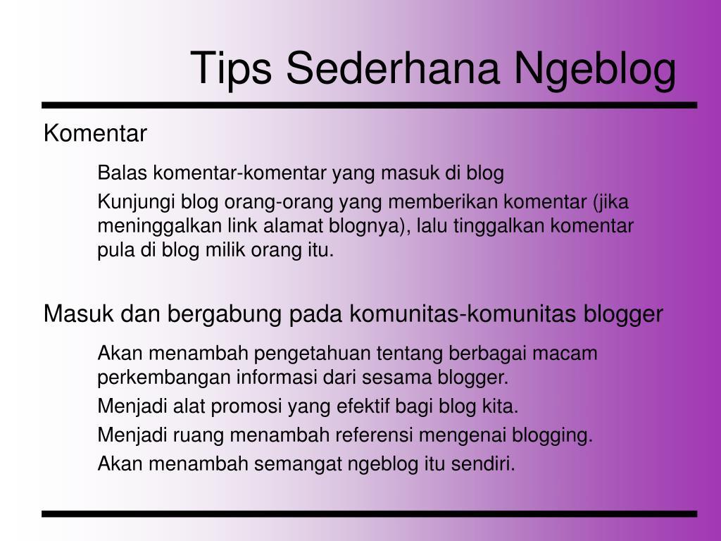 Tips Sederhana Ngeblog