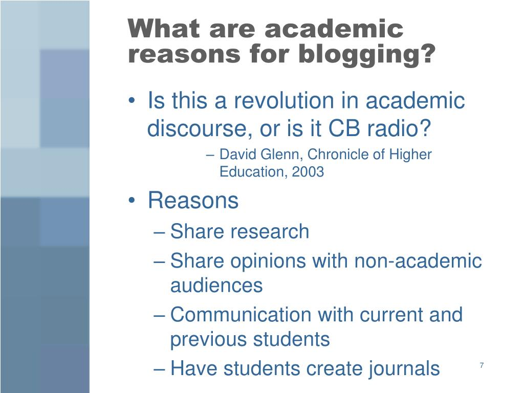 What are academic reasons for blogging?