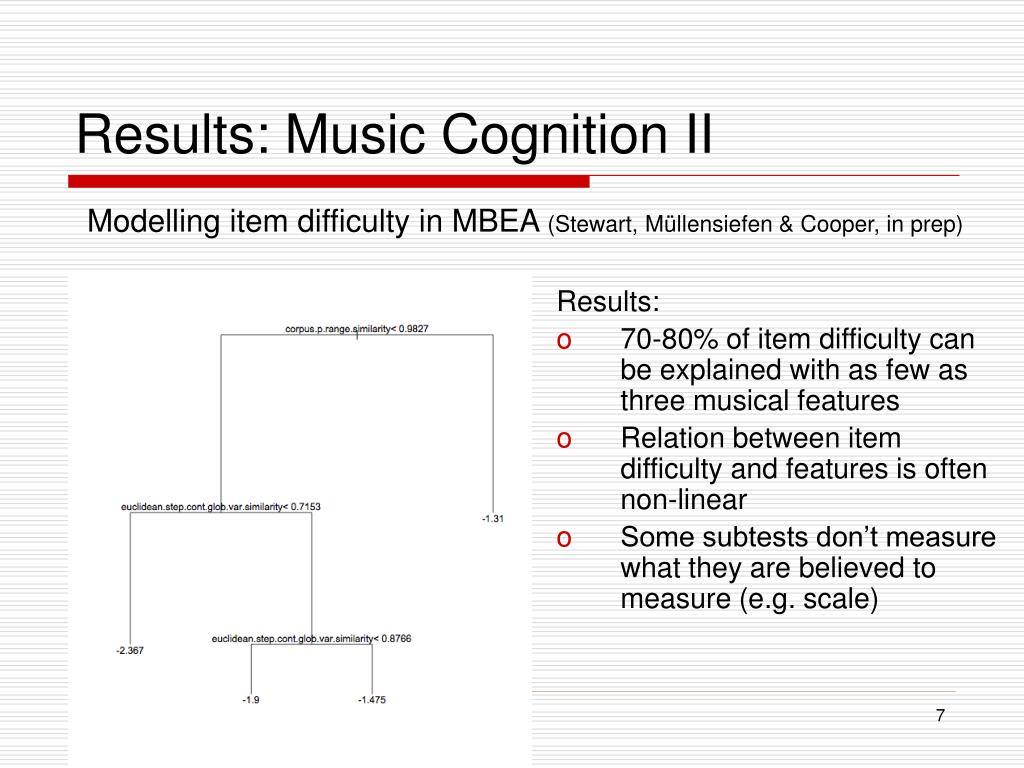 Results: Music Cognition II