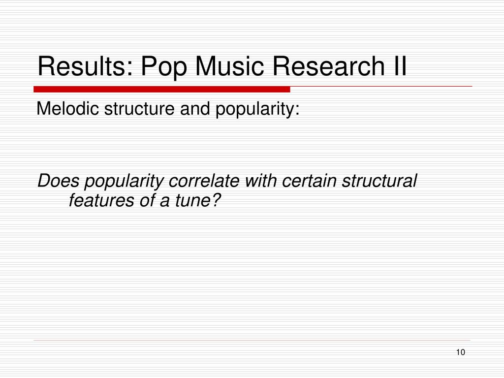 Results: Pop Music Research II