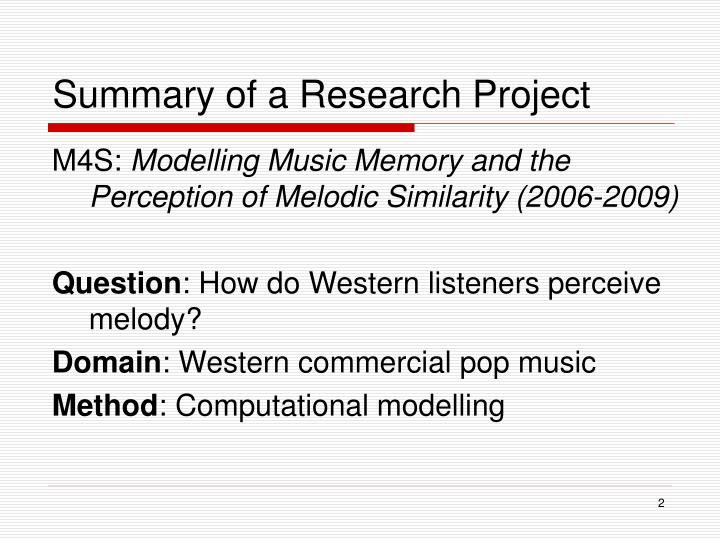 Summary of a research project
