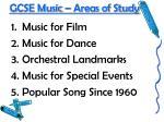 gcse music areas of study