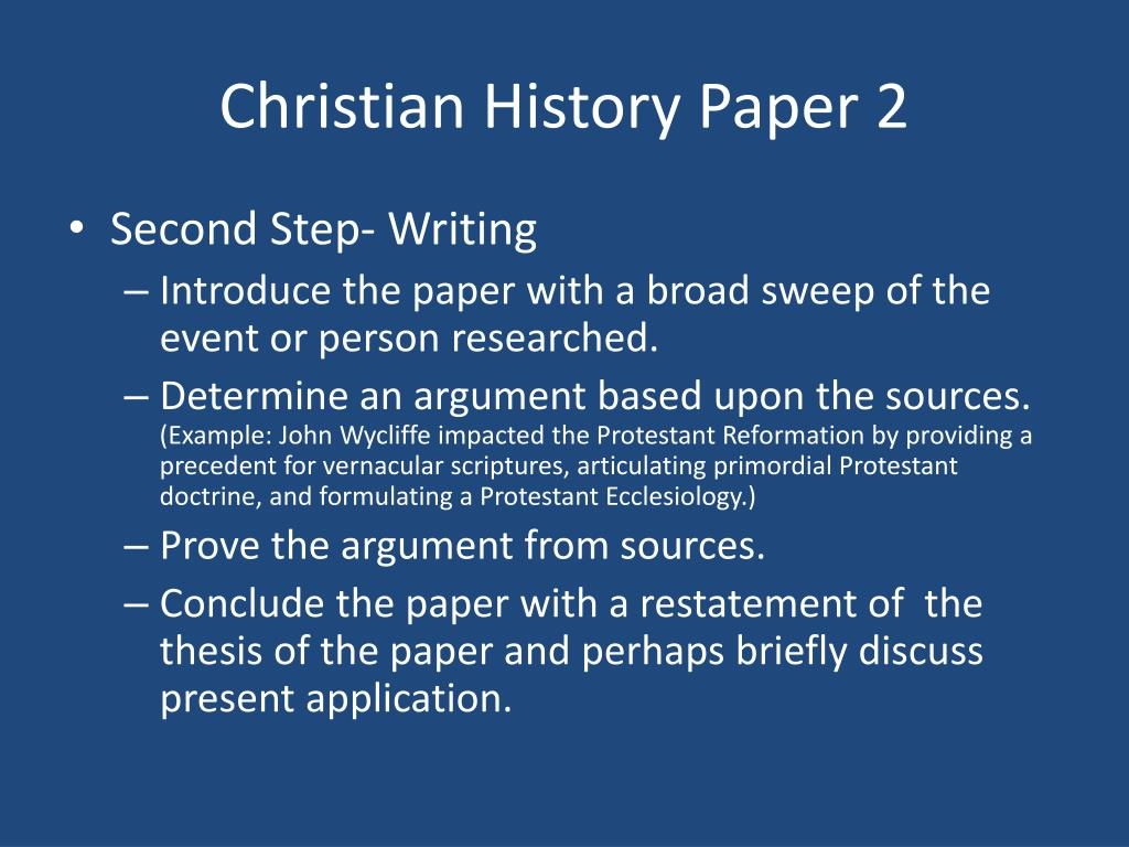 Christian History Paper 2