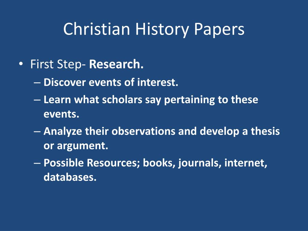 Christian History Papers
