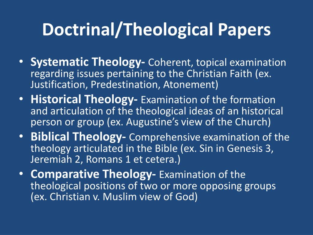 Doctrinal/Theological Papers