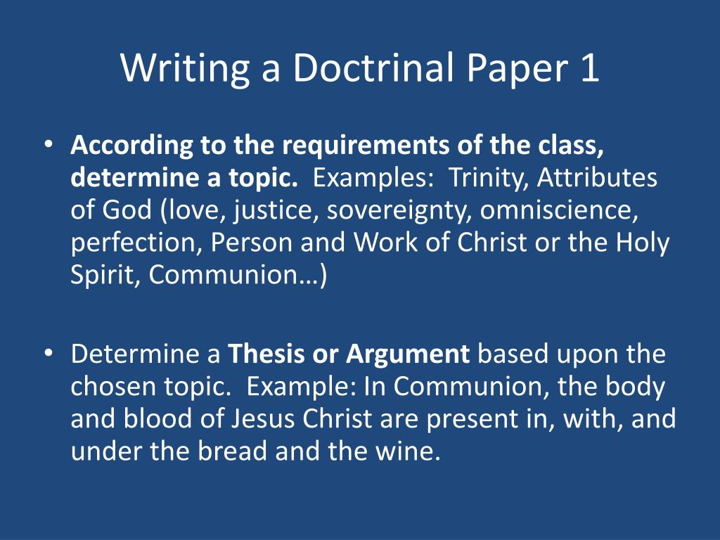 Writing a Doctrinal Paper 1