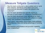 measure tollgate questions