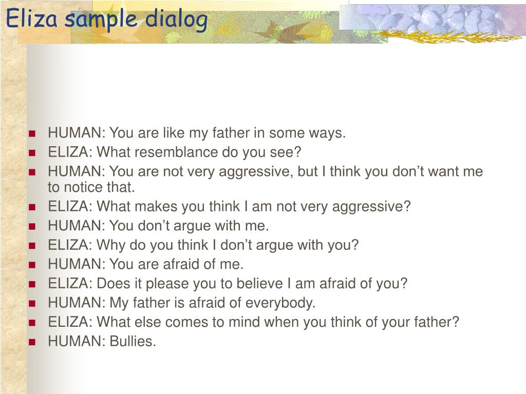Eliza sample dialog