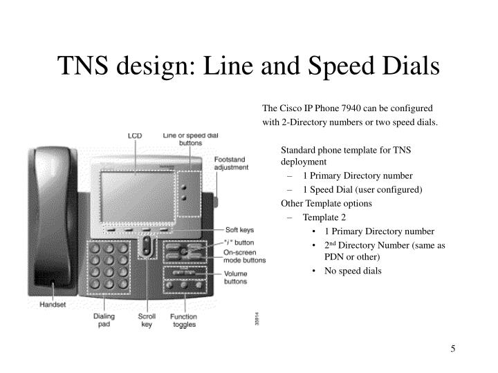 TNS design: Line and Speed Dials