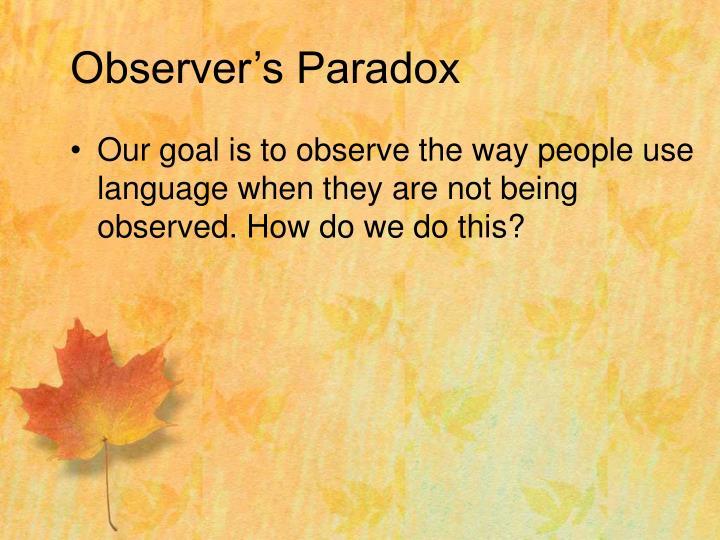Observer s paradox