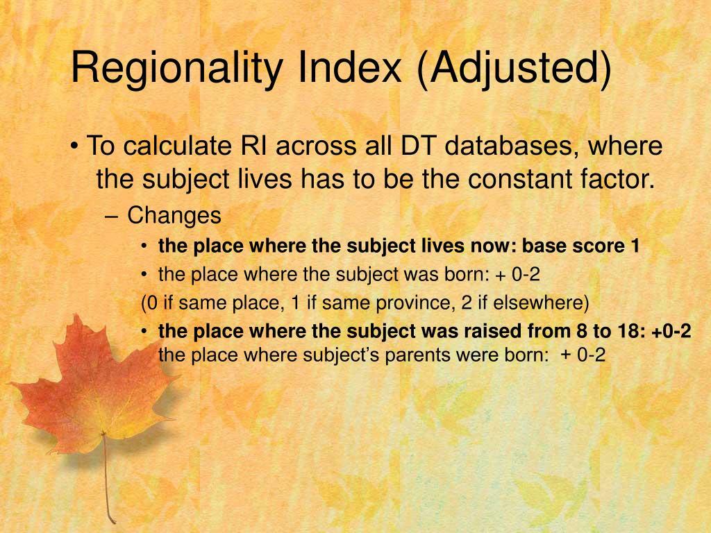 Regionality Index (Adjusted)