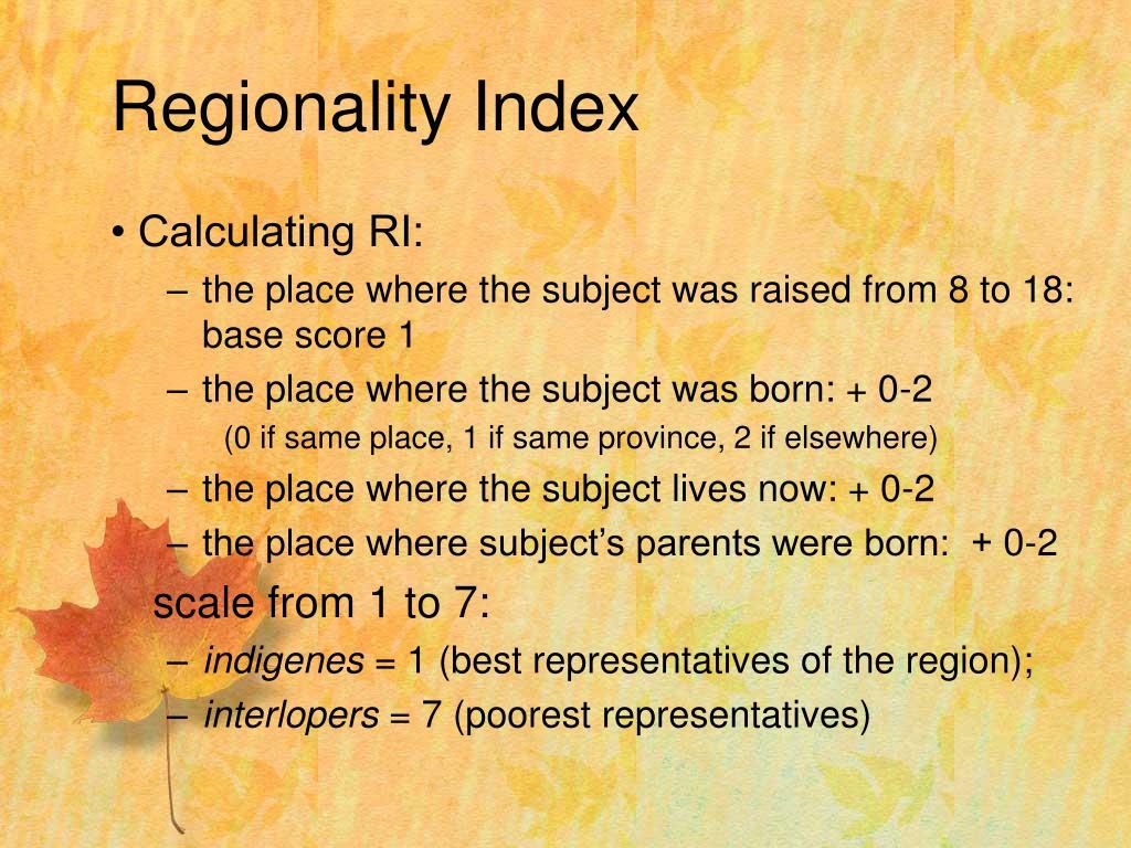 Regionality Index