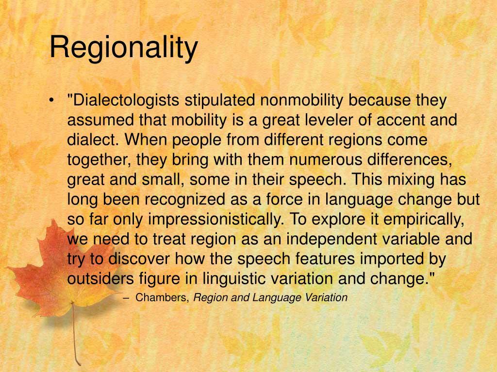 Regionality