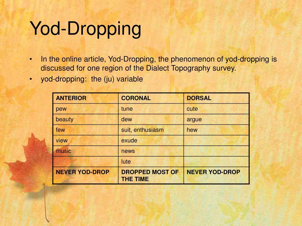 Yod-Dropping