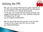 setting the fps