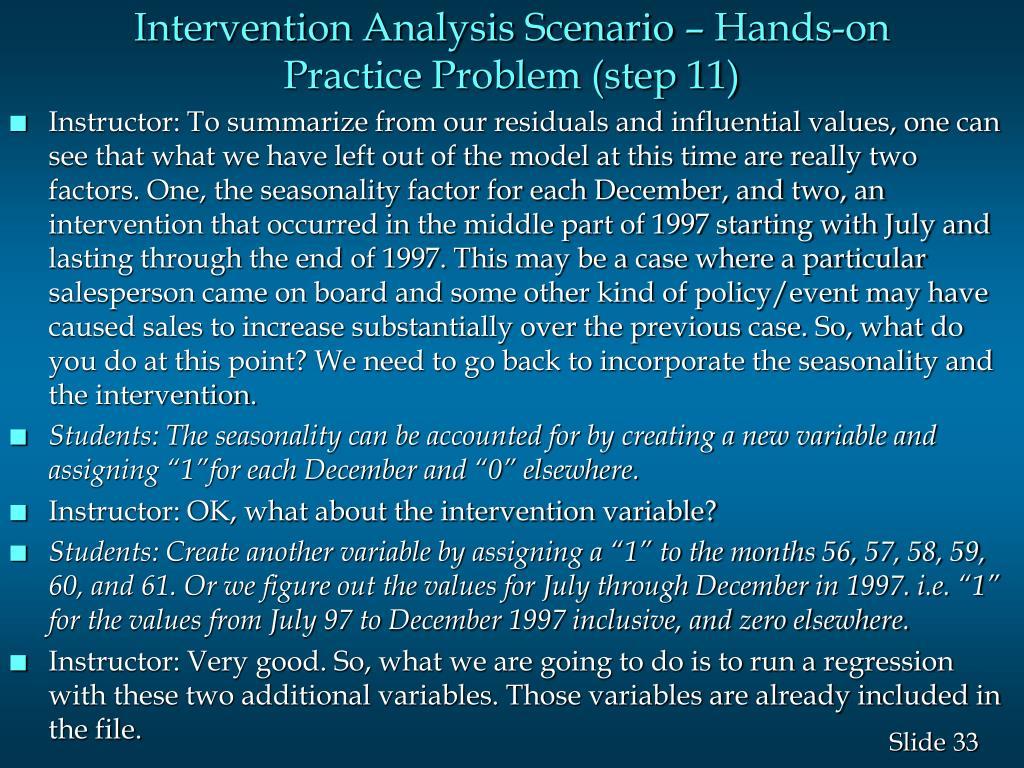 Intervention Analysis Scenario – Hands-on Practice Problem (step 11)