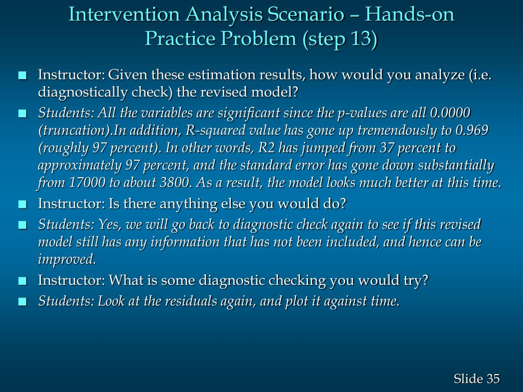 Intervention Analysis Scenario – Hands-on Practice Problem (step 13)