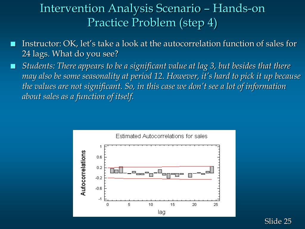 Intervention Analysis Scenario – Hands-on Practice Problem (step 4)