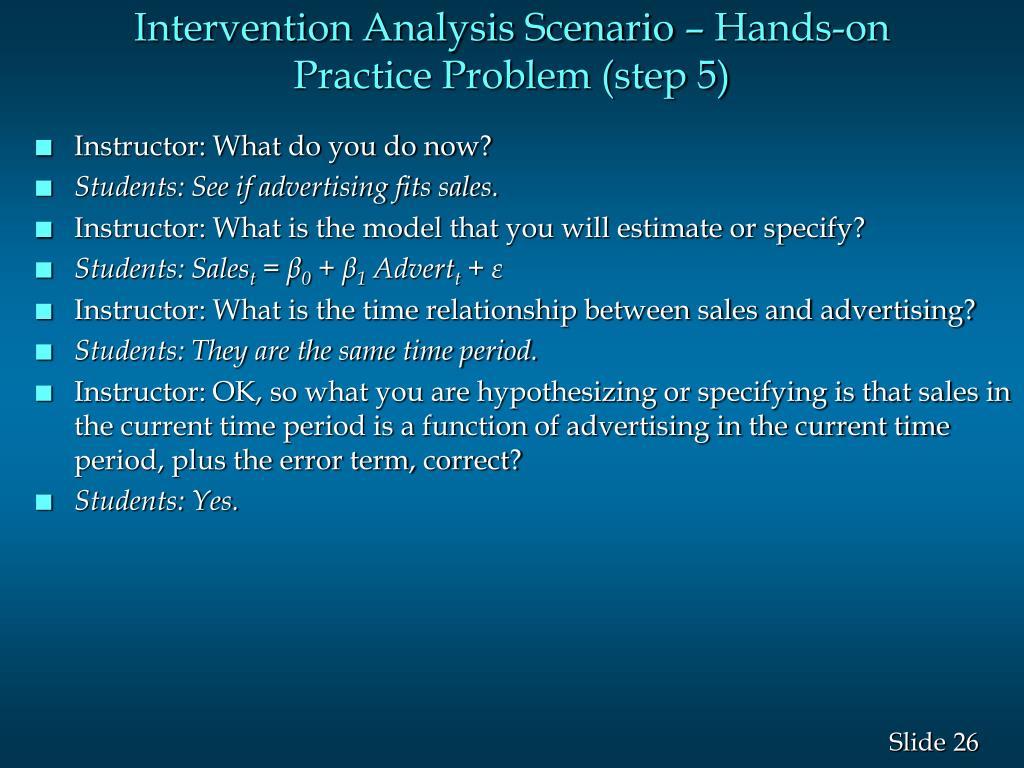 Intervention Analysis Scenario – Hands-on Practice Problem (step 5)