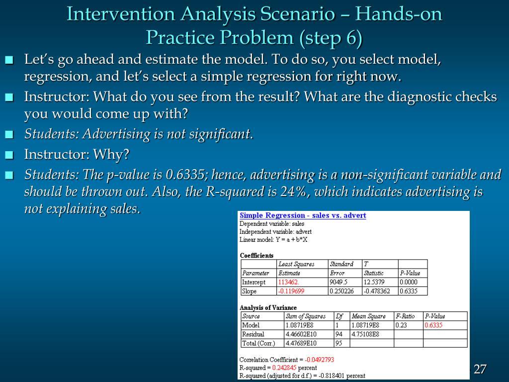 Intervention Analysis Scenario – Hands-on Practice Problem (step 6)