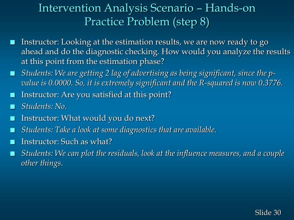 Intervention Analysis Scenario – Hands-on Practice Problem (step 8)