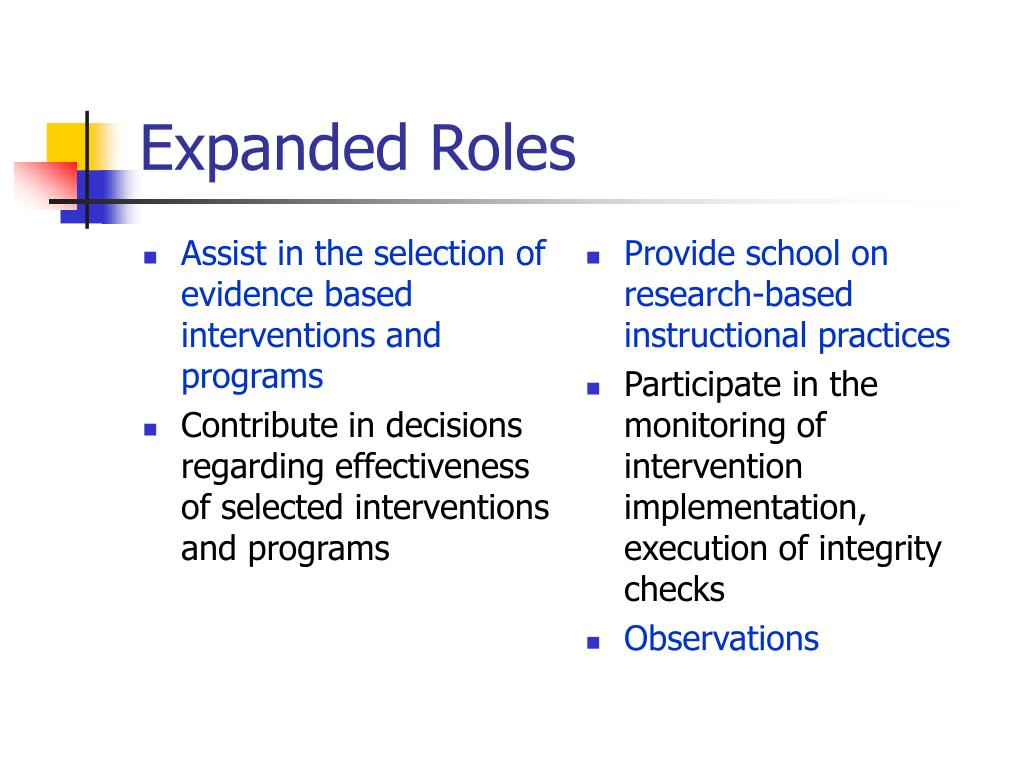 Assist in the selection of evidence based interventions and programs