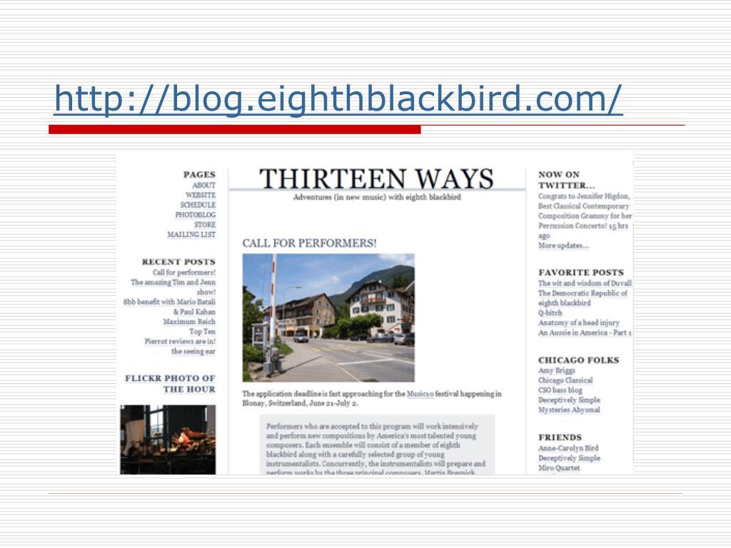 http://blog.eighthblackbird.com/