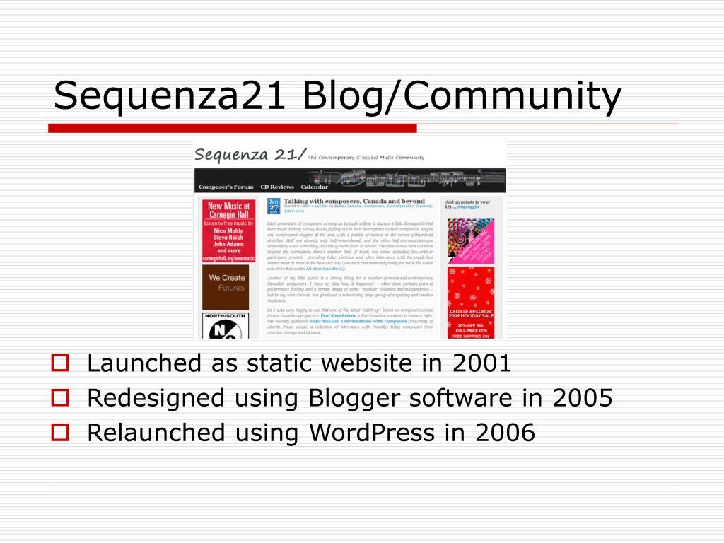 Sequenza21 Blog/Community