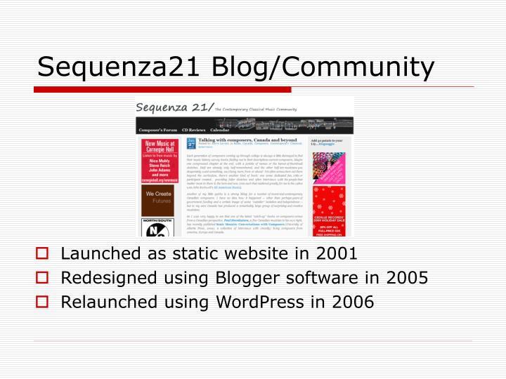 Sequenza21 blog community