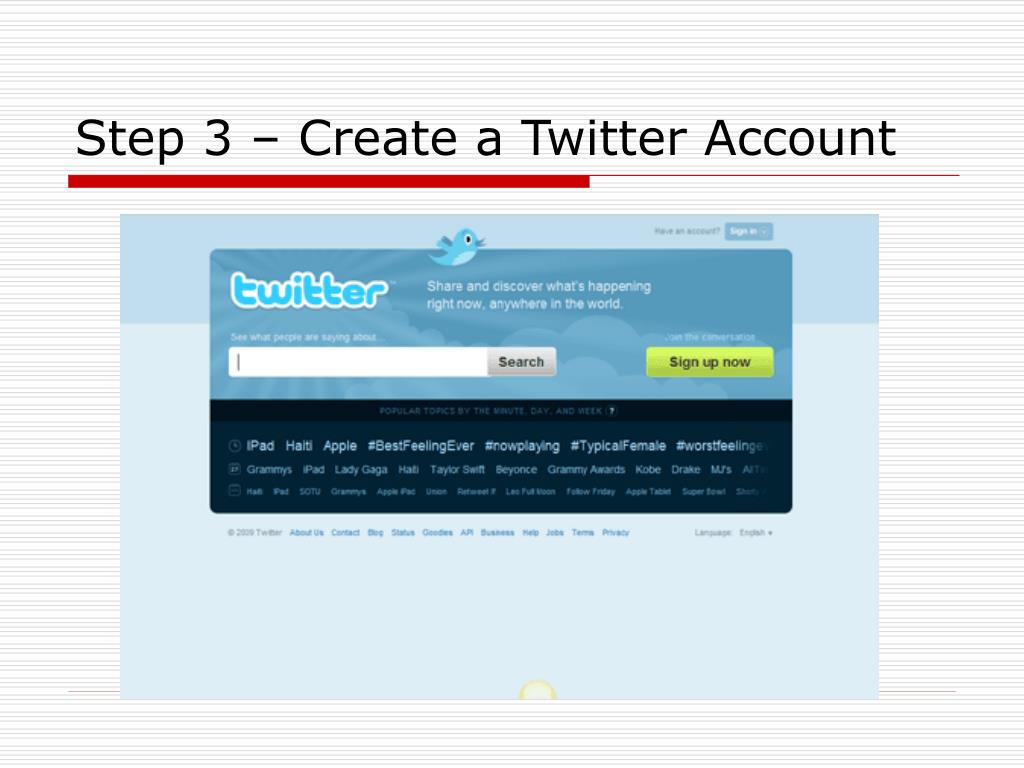 Step 3 – Create a Twitter Account