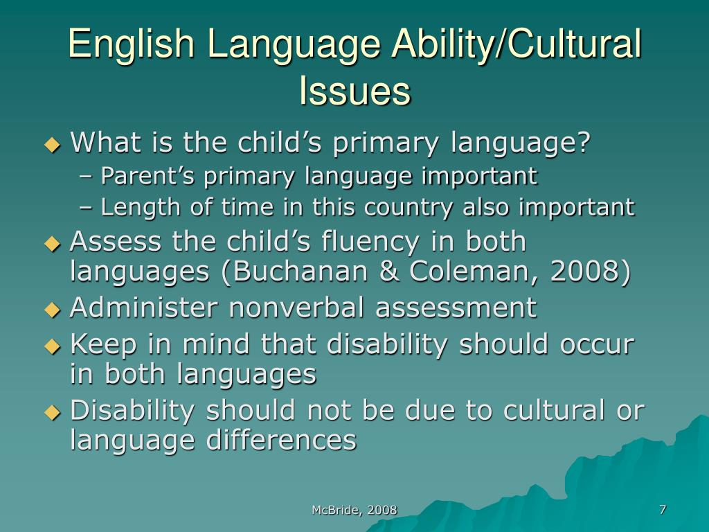 English Language Ability/Cultural Issues