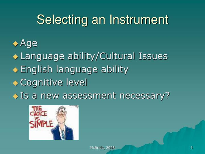 Selecting an instrument3