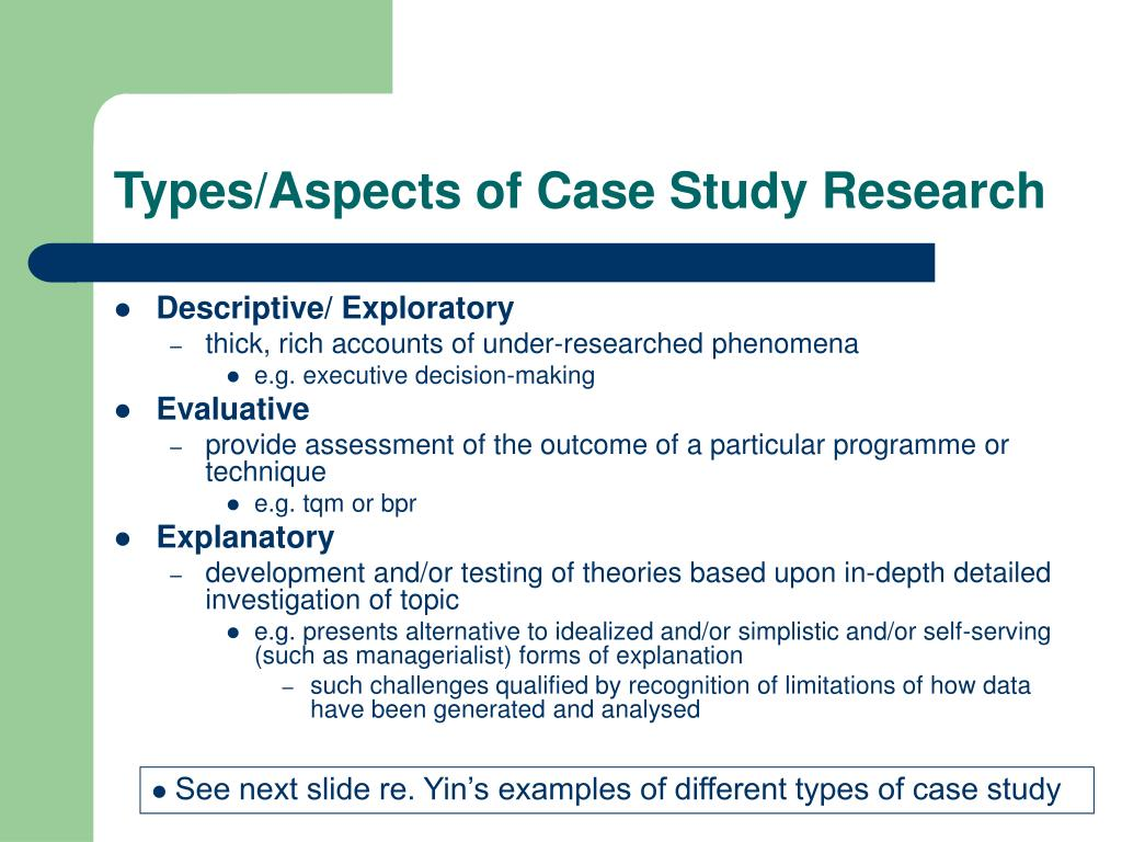 Types/Aspects of Case Study Research
