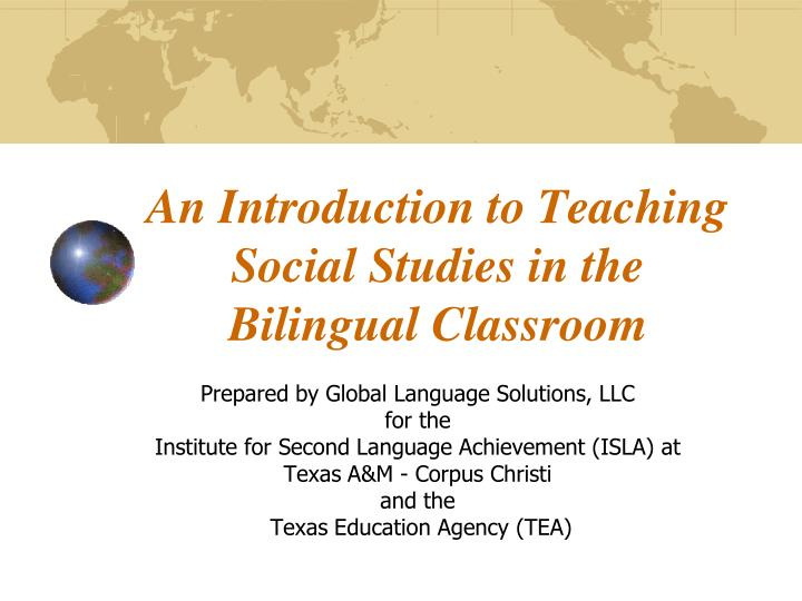 an introduction to teaching social studies in the bilingual classroom n.