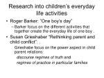 research into children s everyday life activities