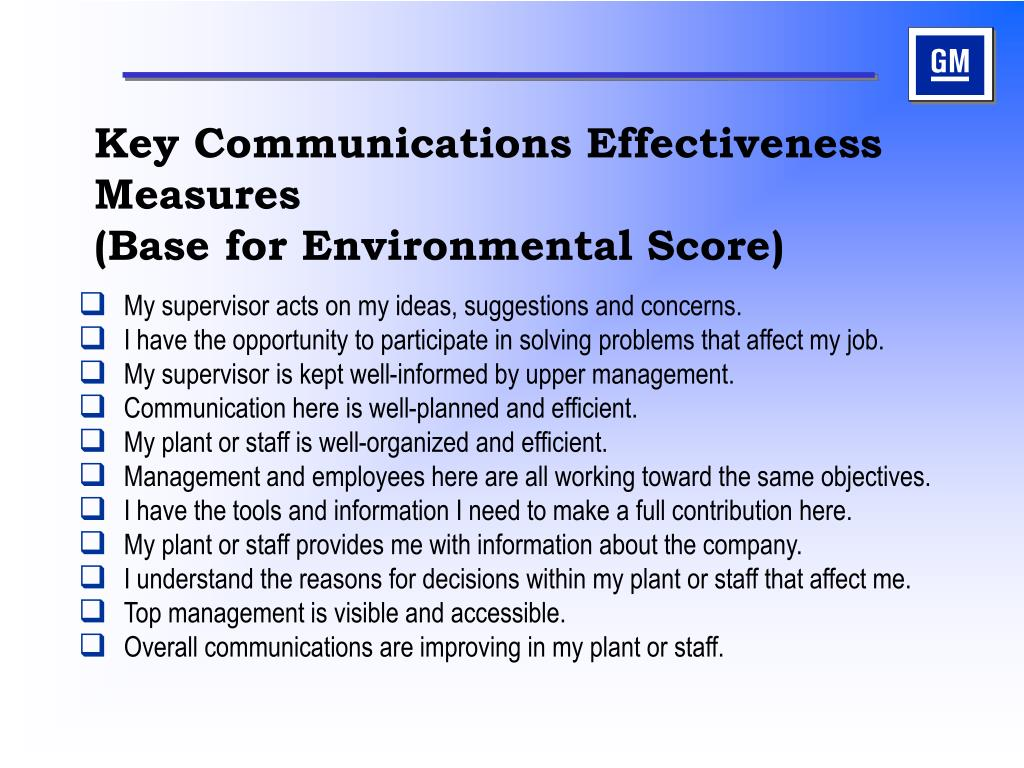 Key Communications Effectiveness Measures