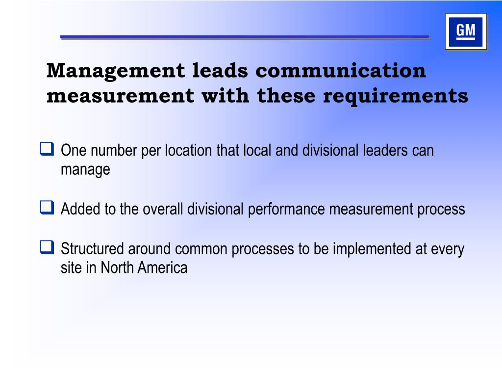 Management leads communication measurement with these requirements